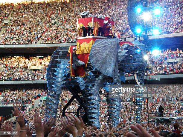 The members of Take That perform on board a giant mechanical elephant on the final date of their 'Circus' tour at Wembley Stadium on July 5th 2009 in...