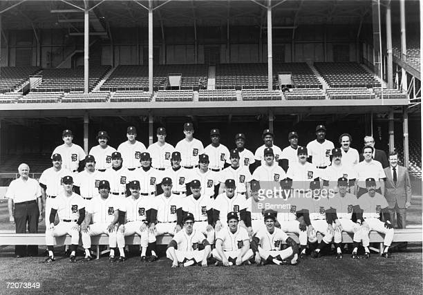 The members of the 1984 World Champion Detroit Tigers professional major league baseball team pose for a team portrait on the field of their home...