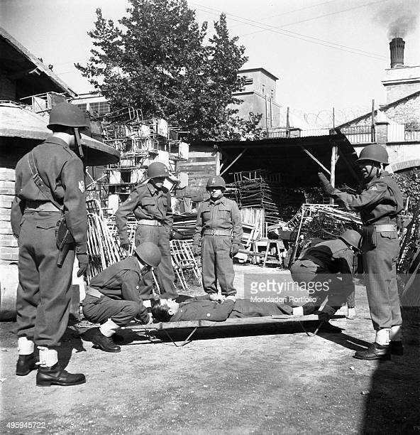 The members of the 68th medical unit of Italian Red Cross training before leaving to Korea Rome 1951