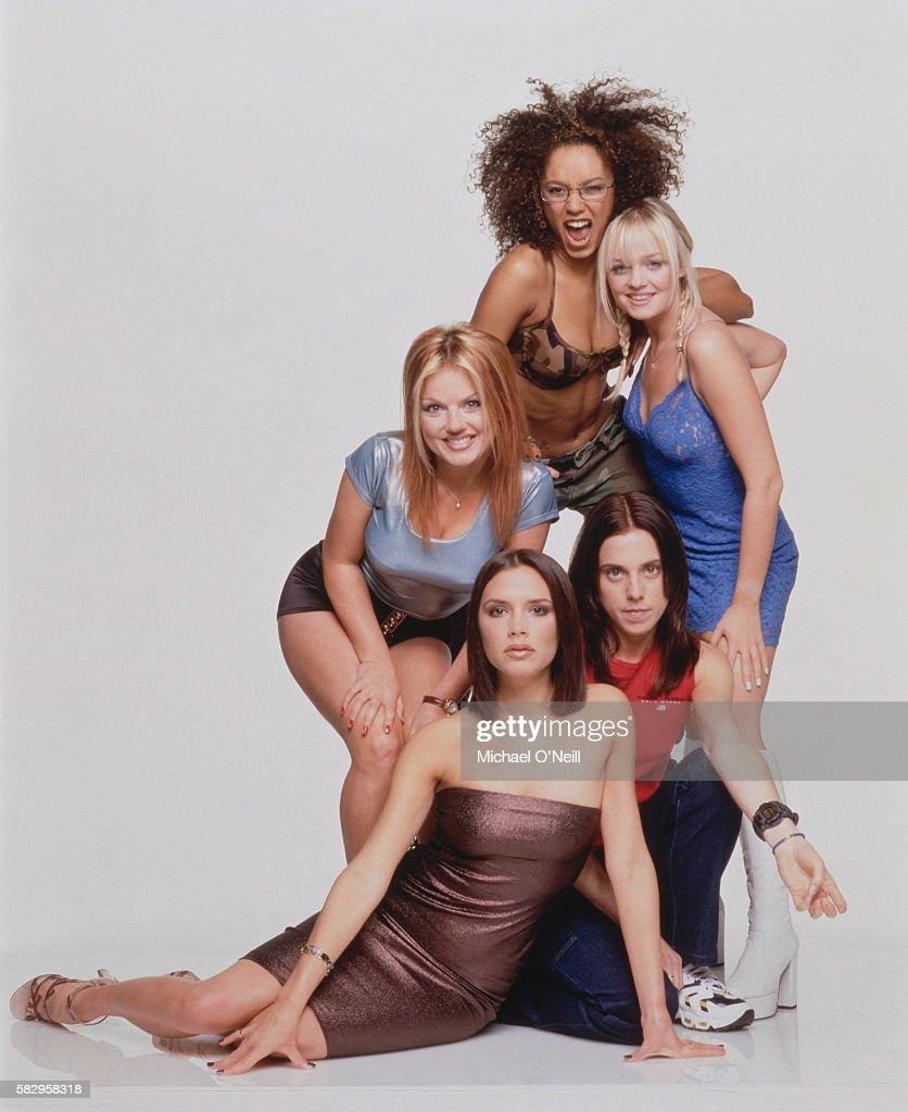 The members of the all-girl music band Spice Girls are (from left to right): Geri Halliwell ('Ginger Spice'), Victoria Addams ('Posh Spice'), Melanie Brown ('Scary Spice'), Melanie Chisholm ('Sporty Spice'), and Emma Bunton ('Baby Spice').