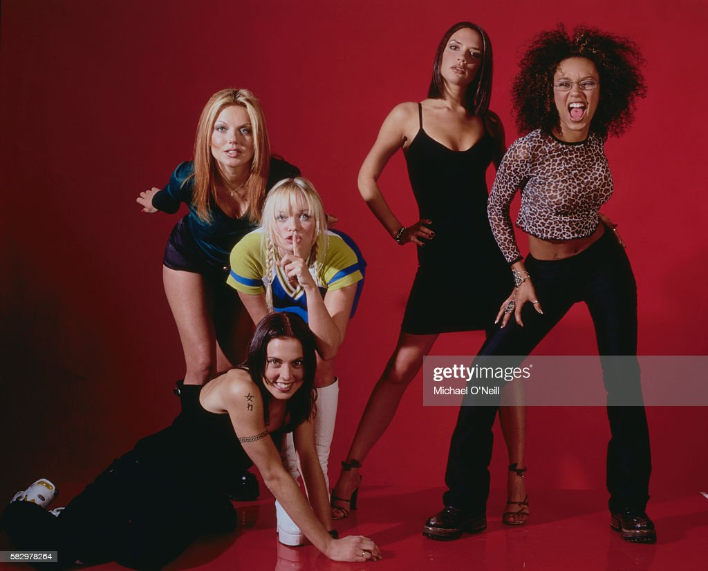 The members of the all-girl music band Spice Girls are (from left to right): Geri Halliwell ('Ginger Spice'), Melanie Chisholm ('Sporty Spice'), Emma Bunton ('Baby Spice'), Victoria Addams ('Posh Spice'), and Melanie Brown ('Scary Spice').