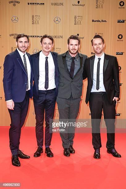 The members of the band Revolverheld Niels Groetsch Jakob Sinn Johannes Strate and Kristoffer Huenecke attend Kryolan At Bambi Awards 2015 Red Carpet...