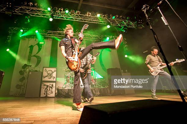 The members of the Black Stone Cherry the singer and guitarist Chris Robertson the guitarist Ben Wells and the bass player Jon Lawhon in concert...