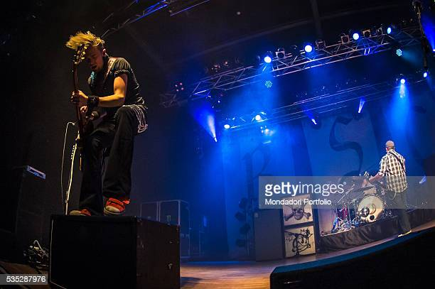 The members of the Black Stone Cherry the singer and guitarist Chris Robertson the guitarist Ben Wells and the drummer John Fred Young in concert...