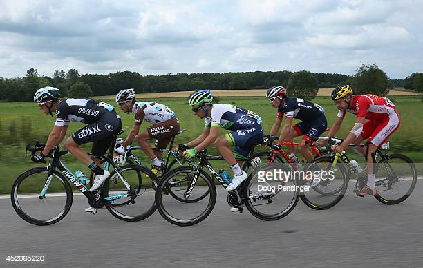 The members of the breakaway Niki Terpstra of The Netherlands and the Omega Pharma - Quick-Step Cycling Team, Blel Kadri of France and AG2R La...