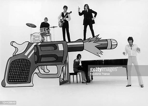 The members of the English musical group the BEE GEES rehearsing for their performance in an endofyear television program produced by Belgian...