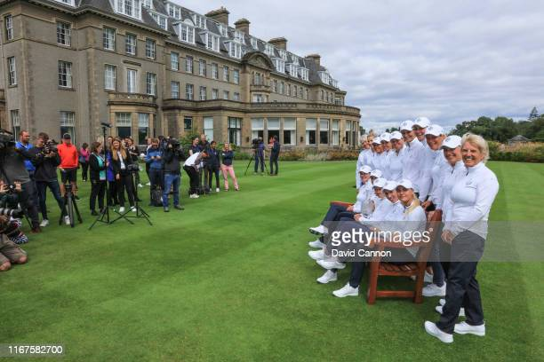 The members of the European Team pose for a team picture on the lawn beside the Gleneagles Hotel during the European Solheim Cup Team announcement at...