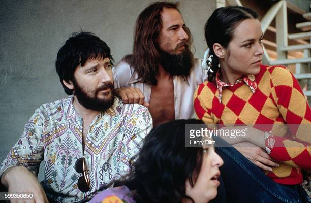 The members of the folk rock group the Mamas and the Papas Dennis Doherty John Phillips Michelle Phillips and Cass Elliot