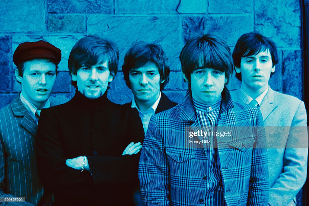 The members of the Hollies (from left) are Bernie Calvert, Graham Nash, Allan Clarke, Tony Hicks, and Bobby Elliot.