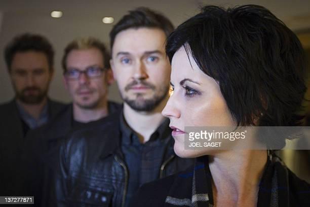 The members of the Irish rock band Cranberries singer Dolores O'Riordan bassist Mike Hogan drummer Fergal Lawler and guitar player Noel Hogan pose on...