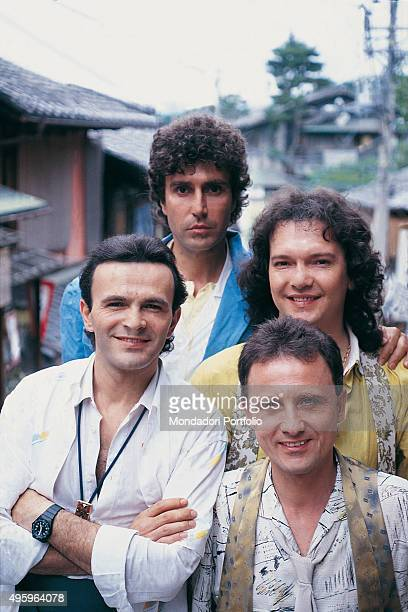 The members of the Italian band Pooh posing during a photo shoot. Clockwise from top: Stefano D'Orazio, Red Canzian , Roby Facchinetti and Dodi...