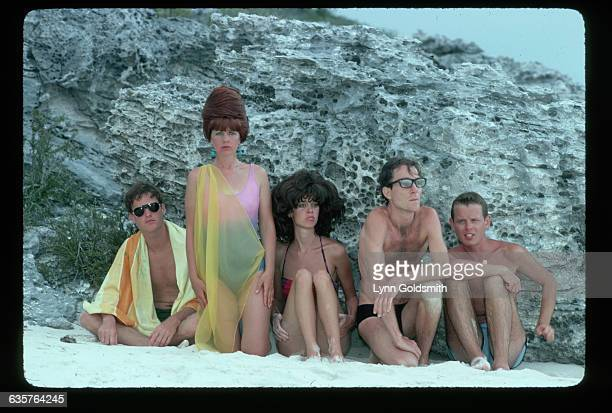 The members of the new wave band the B-52s pose in bathing suits