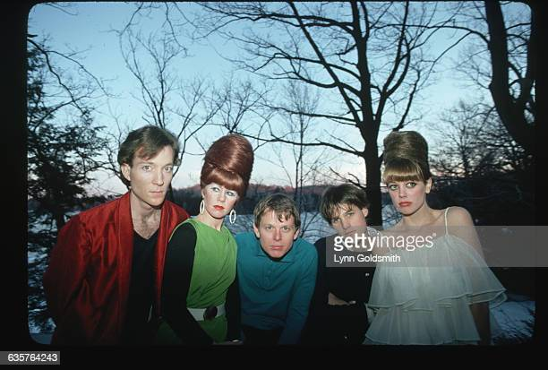 The members of the new wave band the B-52s pose outdoors in front of a lake. From left to right: Fred Schneider , Kate Pierson , Ricky Wilson , Keith...