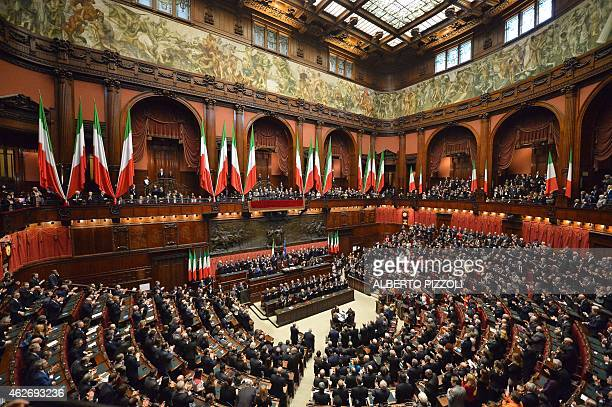 The members of the Parliament applauds newly elected President Sergio Mattarella at the end of his speech after he takes the presidential oath on...
