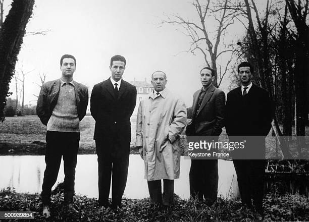 The members of the Provisional Government of Republic of Algeria at the château d'Aunoy Hocine Ait Ahmed Ahmed Ben Bella Mohamed Khider Mohamed...