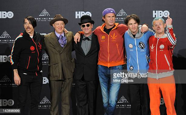 The members of the Red Hot Chili Peppers inductee Anthony Kiedis inductee Jack Irons inductee Cliff Martinez inductee Chad Smith inductee Josh...