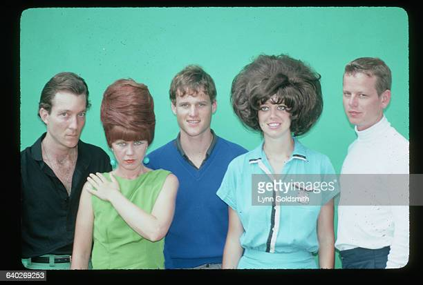 The members of the rock/new wave group the B-52s pose together. From left to right: Fred Schneider, vocals; Kate Pierson, keyboards and vocals; Keith...