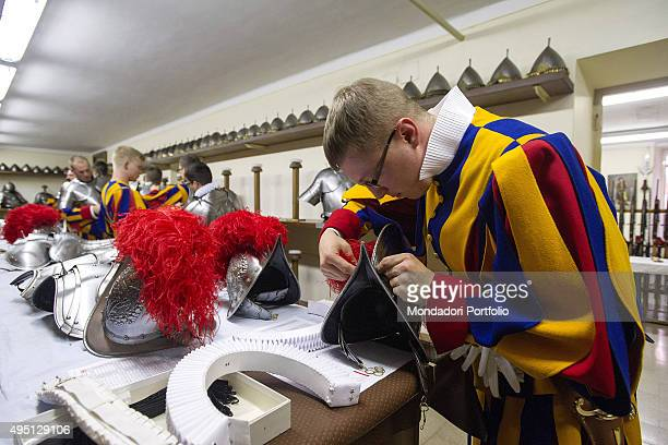 The members of the Swiss Guard getting ready for the Ceremony of Oath of the new recruits Vatican City 6th May 2015