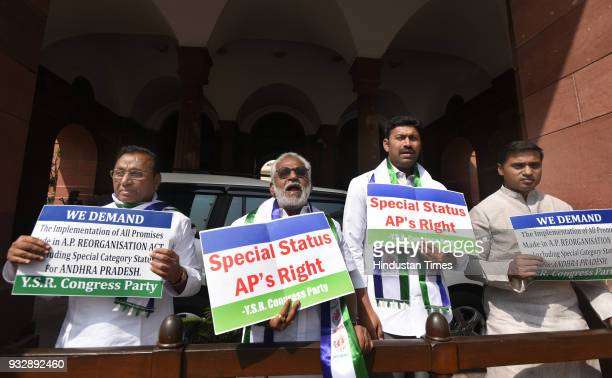 The members of YRS Congress protesting to demands of Special Status for Andhra Pradesh at Parliament House on March 16 2018 in New Delhi India