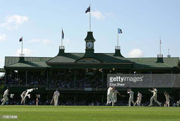 The Members Stand is pictured in this general view as Paul Collingwood of England is dismissed during day three of the fifth Ashes Test Match between...