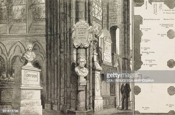 The memorial bust of Henry Wadsworth Longfellow recently unveiled in Westminster Abbey plan of Poets corner showing the position of the Longfellow...