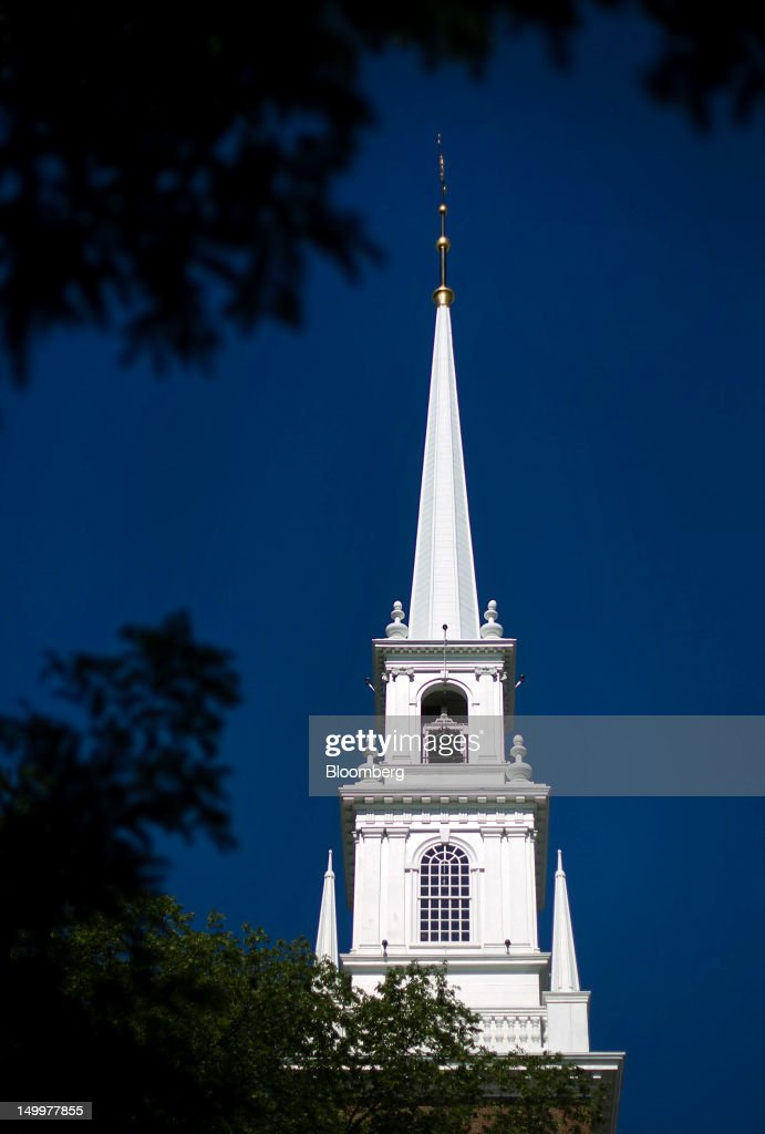 The Memorial Church stands at Harvard University in Cambridge, Massachusetts, U.S., on Monday, Aug. 6, 2012. Harvard University, an American private Ivy League research university established in 1636, is the oldest institution of higher learning in the United States and the first corporation chartered in the country. Photographer: Brent Lewin/Bloomberg via Getty Images