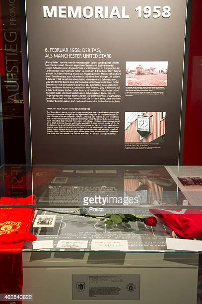 The memorial exhibition is seen during the commemoration of the 1958 airplane crash in Munich where eight players of Manchester United have been...