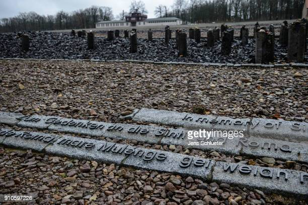 The memorial for the killed sinti and roma is displayed at the Buchenwald concentration camp on January 26 2018 near Weimar Germany International...