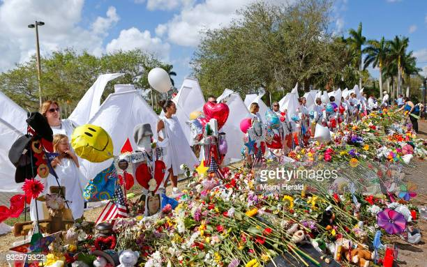 The memorial for the victims of the shooting at Marjory Stoneman Douglas High School on February 25 in Parkland Fla
