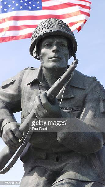 The memorial in Normandy to Major Richard 'Dick' Winters who commanded Easy Company 506th Parachute Infantry Regiment on 6 June 1944 during the...