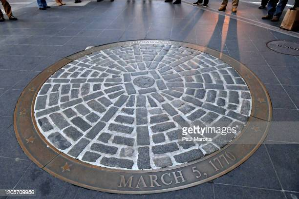 The memorial marking the site of the 250th Anniversary of the March 5, 1770 Boston Massacre at the Old State House on March 7, 2020 in Boston,...