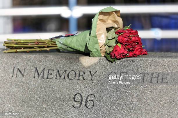 The memorial outside Hillsborough for the 96 people that died during The Emirates FA Cup Fifth Round match between Sheffield Wednesday and Swansea...