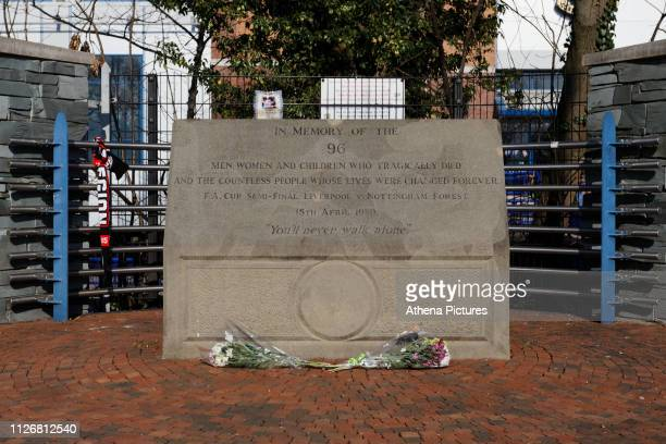 The memorial outside the stadium prior the Sky Bet Championship match between Sheffield Wednesday and Swansea City at Hillsborough Stadium on...