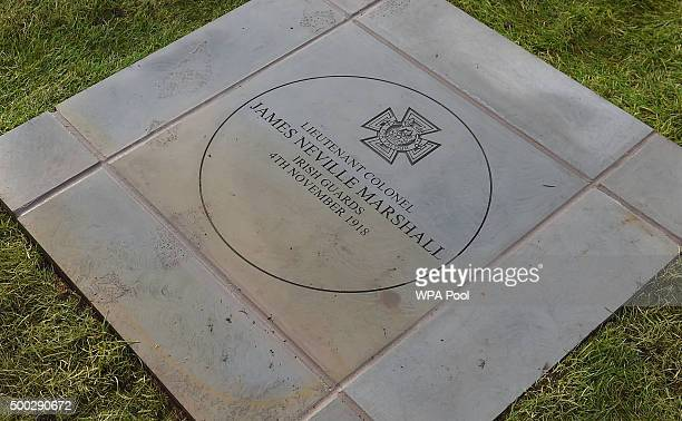 The memorial paving stone for James Neville Marshall as Prince William Duke of Cambridge attends a memorial service in honour of local Victoria Cross...