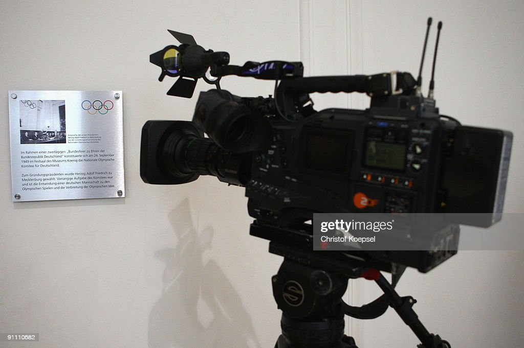 The memorial plaque is is seen during the 60th German National Olympic Committee anniversary at museum Koenig on September 24, 2009 in Bonn, Germany.