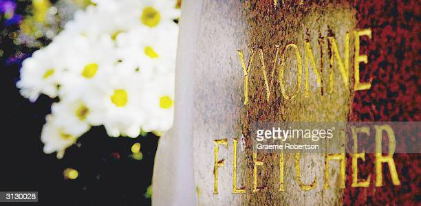 The memorial plaque of police officer Yvonne Fletcher is pictured on March 25 2004 in London the same day as British Prime Minister Tony Blair meet...