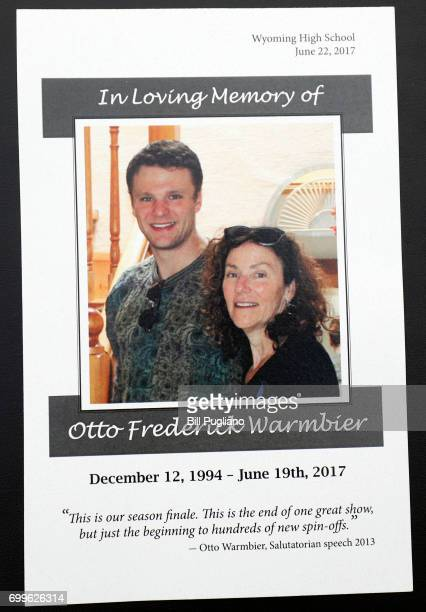 The memorial program for the funeral of Otto Warmbier is shown at Wyoming High School site of the funeral une 22 2017 in Wyoming Ohio Warmbier the...