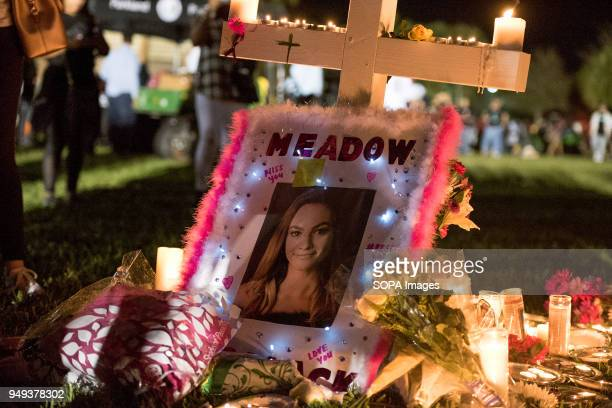 The memorial site for Marjory Stoneman Douglas school shooting victim Meadow Pollack on February 15 2018 at the candlelight vigil held in Parkland...