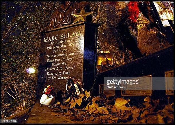 The memorial site for T Rex singer Marc Bolan in London.