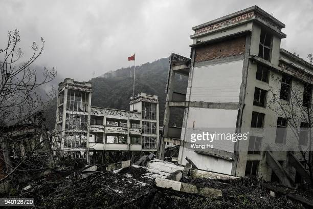 The memorial site of the 2008 Sichuan earthquake of Xuankou Middle School on 30th March, 2018 in Yingxiu, Ngawa Tibetan and Qiang Autonomous...