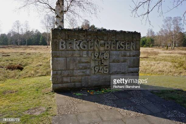 The memorial stone at the entrance to the former BergenBelsen German Nazi concentration camp in Lower Saxony Germany 2014 The site is now a museum...