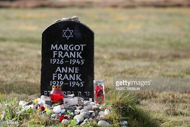 The memorial stone for Jewish girl Anne Frank author of 'The Diary of a Young Girl' and her sister Margot is pictured 28 October 2007 on the grounds...