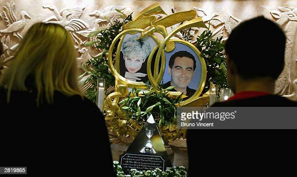 The memorial to Princess Diana and Dodi Fayad is seen in Harrods department store December 18 2003 in London Inquests into the death of Diana...