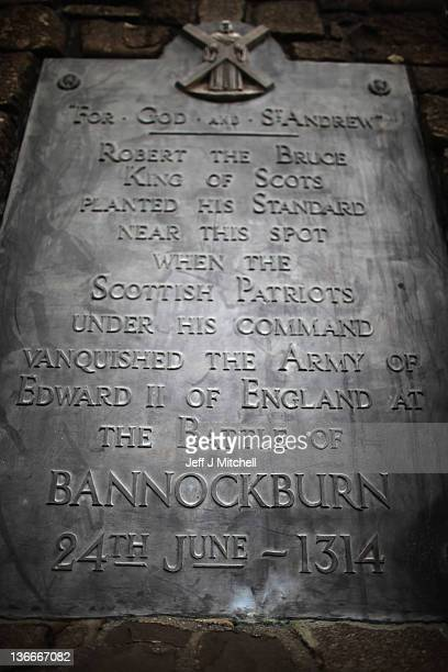The memorial to Robert the Bruce is situated on the site of the battle of Bannockburn on January 10 2012 in Bannockburn Scotland The battle took...
