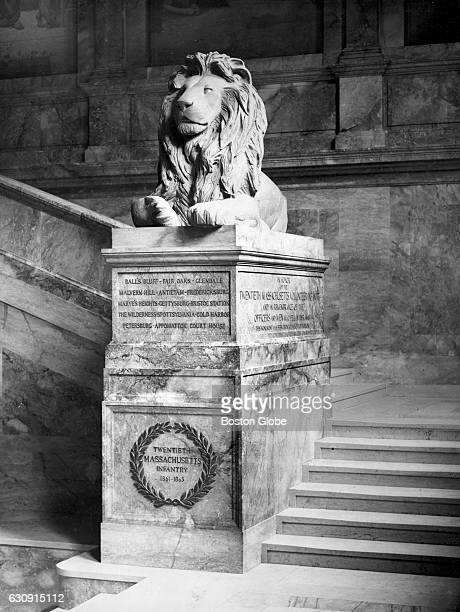 The memorial to the 20th Mass volunteer infantry on the main staircase of the Boston Public Library in Boston's Copley Square May 1927 [Date unknown...