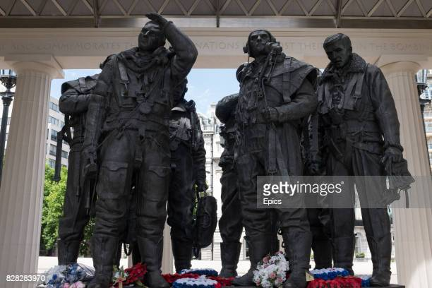 The memorial to the Royal Air Force Bomber Command in Green Park London commemorating all those who undertook missions in World War II as well as...