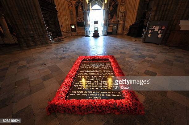 The memorial to the Unknown Warrior in the nave of Westminster Abbey on November 29 2012 in London England Dead Famous London is a journey through...