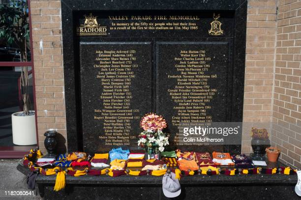 The memorial to the victims of the fire in 1985 which destroyed part of the ground pictured before Bradford City played Carlisle United in a Skybet...