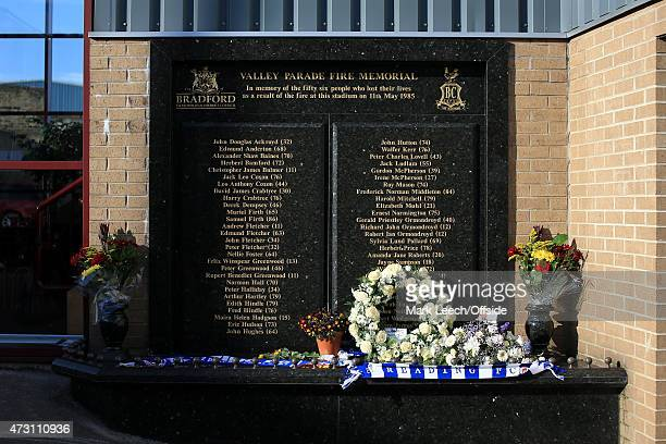 The memorial to the victims of the Valley Parade Fire of 1985 is seen ahead of the FA Cup Quarter Final match between Bradford City and Reading at...