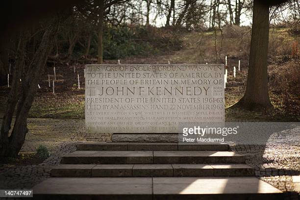 The memorial to US President John F Kennedy stands in sunlight on March 5, 2012 in Runnymede, England. The memorial stands in an acre of land given...